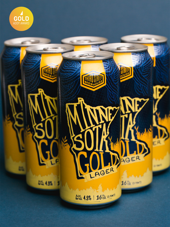 Third Street Brewhouse Minnesota Gold Can Design Gold Addy Award Winner