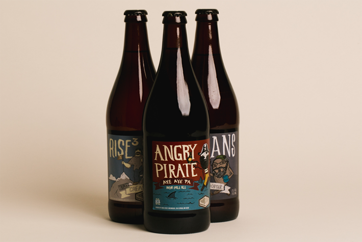 Third Street Brewhouse 22oz Bottle Label Designs - Cool Beans, Angry Pirate, Rise to the Top
