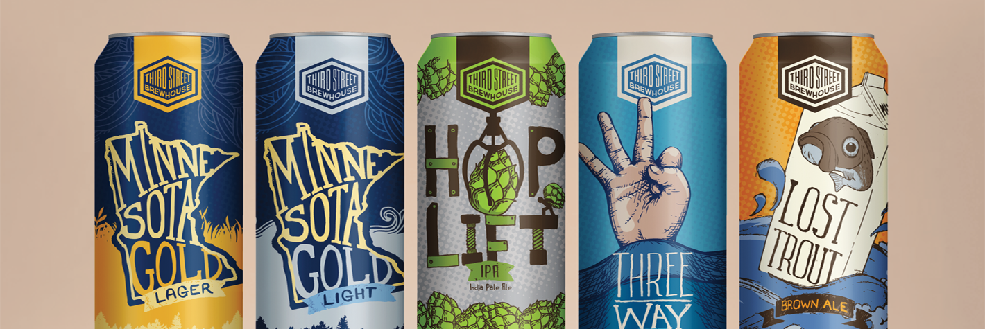 Third Street Brewhouse 16oz Can designs - Minnesota Gold Lager, Minnesota Gold Light, Hop Lift IPA, Three Way IPA, Lost Trout Brown Ale